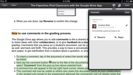 How to Use Comments on the Google Drive iPad App | TIC JSL | Scoop.it