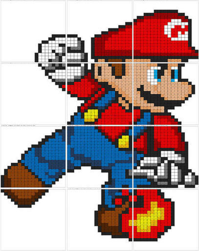 Super Smash Bros Mario Subtraction Coloring Mural