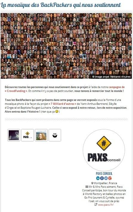 Mr & Mrs Paxs dans la mosaïque des BackPackers qui soutiennent WorldFactoryTour ( le #Crowdfunding qui fait voyager  !) | MARKETING DIGITAL: NOUVEAUX LEVIERS DU TOURISME | Scoop.it