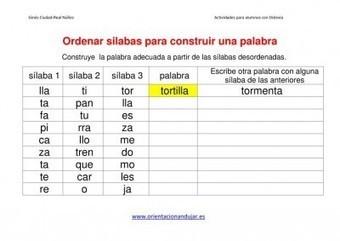 Actividades dislexia Ordenar sílabas Dejamos Plantilla editable - Orientacion Andujar   Recull diari   Scoop.it