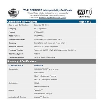 HTC M8 gets Wi-Fi certification | Technology News | Scoop.it