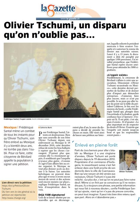 Article la Gazette - 22 novembre 2012 | Olivier Tschumi, séquestré au Mexique | Scoop.it
