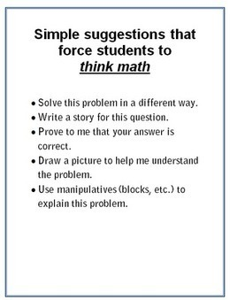 Algebra 1 Teachers: How to Get Kids Thinking in Math Class | Understandingcommoncorestatestandards | Scoop.it