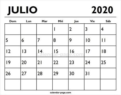 Calendario Julio 2020 Para Imprimir.Calendario Julio 2020 Calendario Mensual 2020