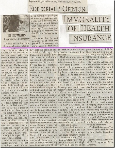 Immorality of Health Insurance | Coffee Party Science | Scoop.it