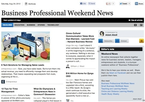 Aug 4 - Business Professional Weekend News | Business Updates | Scoop.it