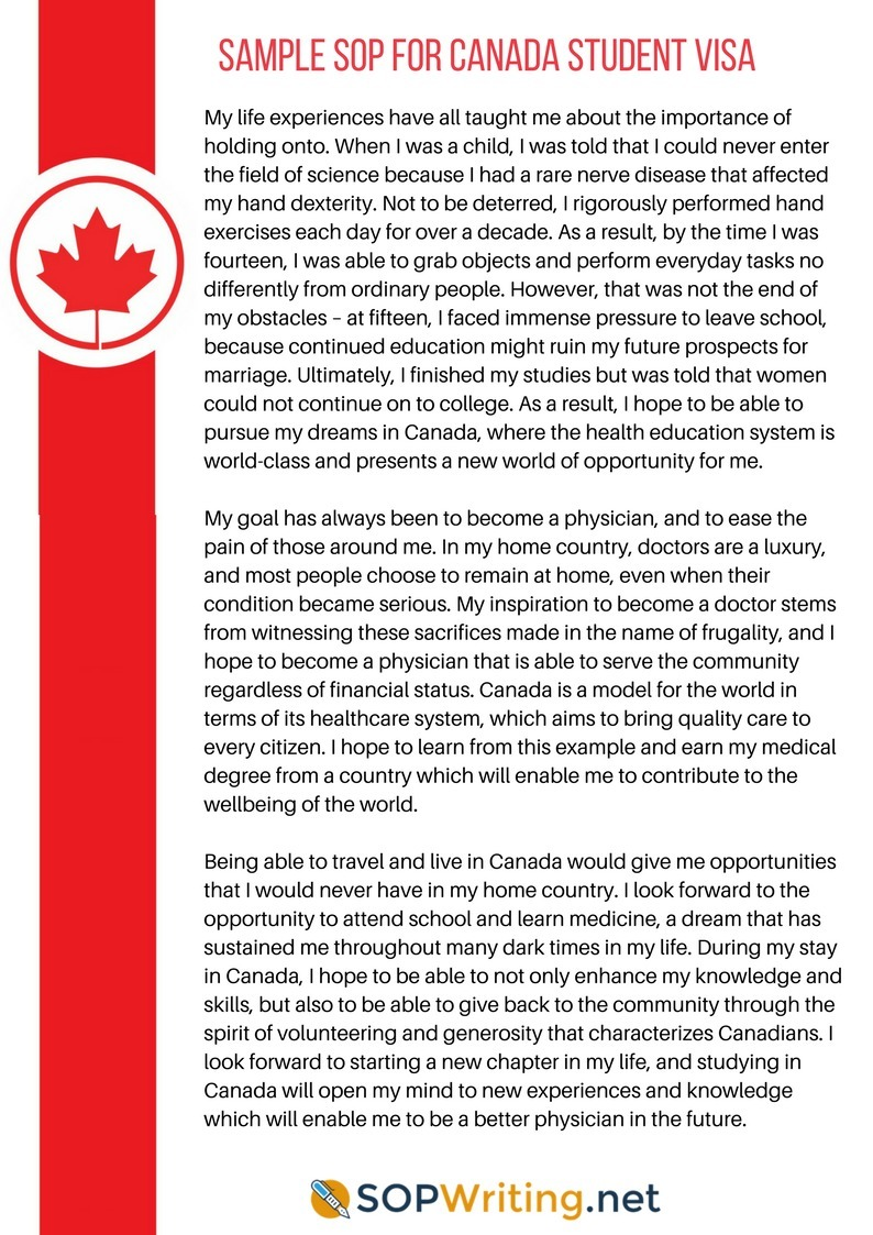 Sample Sop For Canada Student Visa Sop Writin
