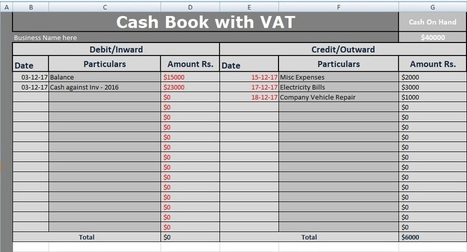 Cash Book With VAT Excel Template Free - Free E...