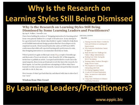 Why Is the Research on Learning Styles Still Being Dismissed by Some Learning Leaders and Practitioners? | eLearning Strategies | Scoop.it