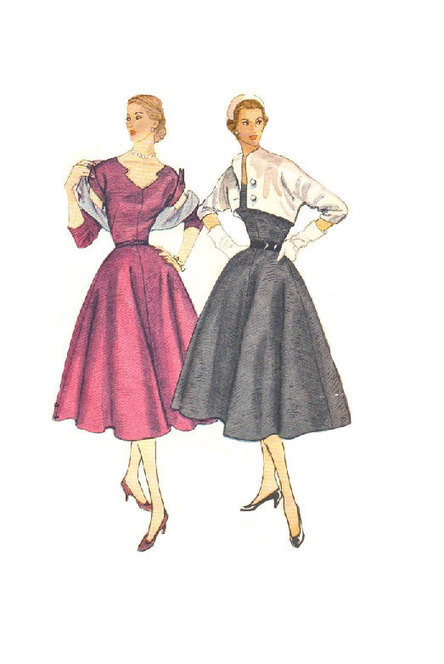 Vintage Sewing Pattern 1950s Sweetheart Top Rockabilly Full Skirt 1950 50s