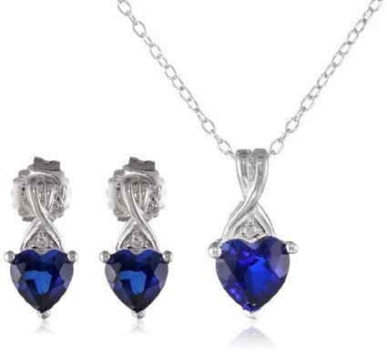 7c3df81ca31717 Sterling Silver Created Blue Sapphire and Diamond-Accent Heart Earrings and  Pendant Necklace Set