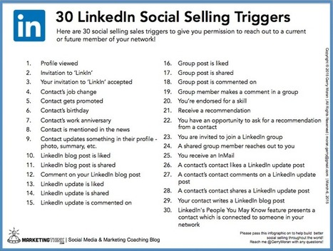 30 LinkedIn Social Selling Sales Triggers | The Social Touch | Scoop.it