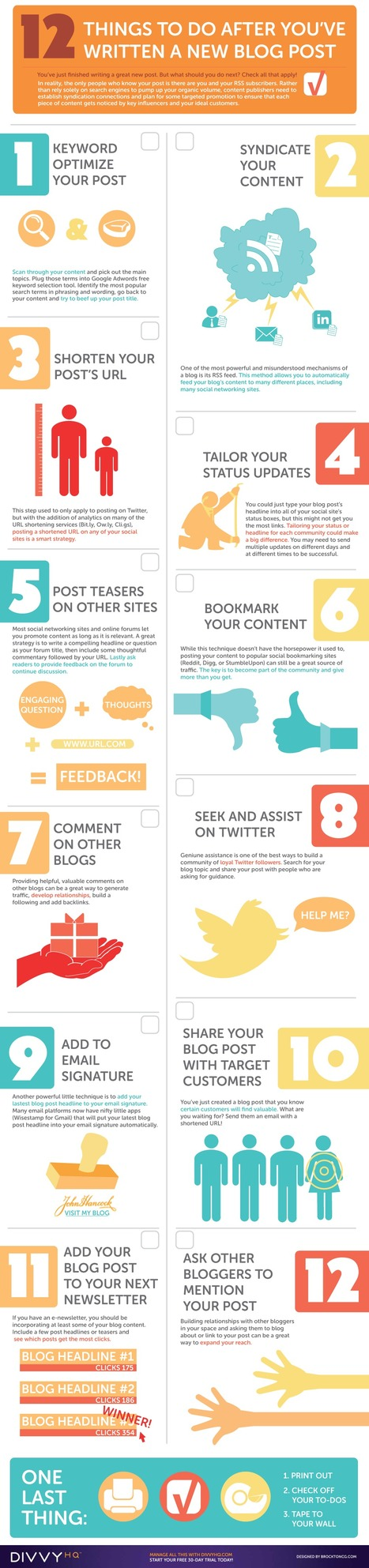 12 Steps to Promote Each and Every Blog Post (infographic) | Social media articles to follow for platforms | Scoop.it