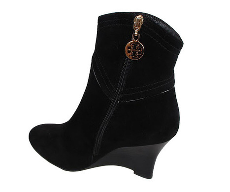 6468a29f112a4 Tory Burch Suede Wedge Bootie Black TNB029