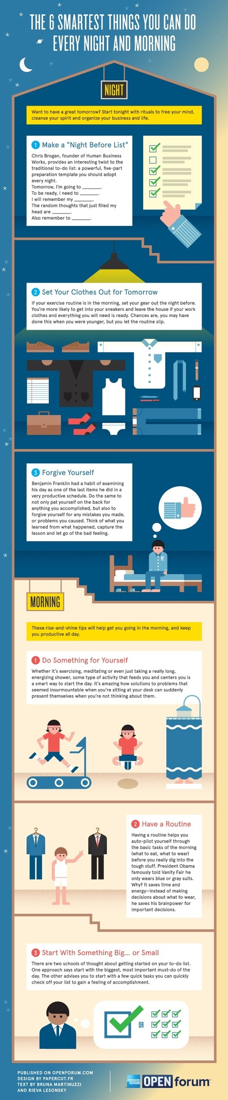 The Six Smartest Things You Can Do Every Night And Morning [infographic] | Visual*~*Revolution | Scoop.it