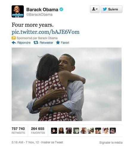Twitter explose tous les records avec la réélection de Barack Obama | Outils de veille - Content curator tools | Scoop.it