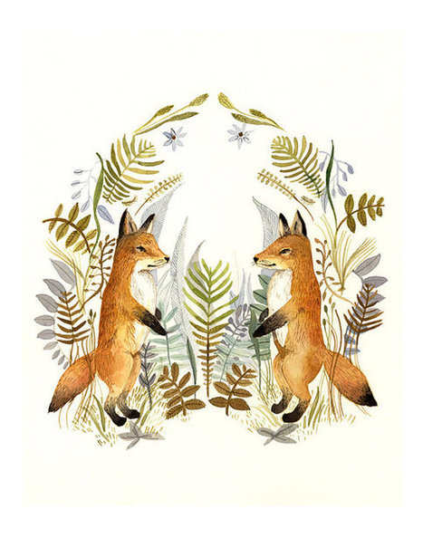 "Watercolor painting- reproduction- ""Foxes and Ferns"" 