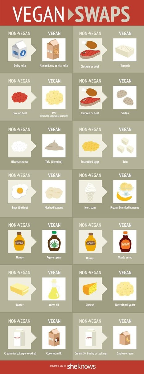Simple Food Swaps To Make Eating Vegan Effortless Infographic | Plant Based Transitions | Scoop.it