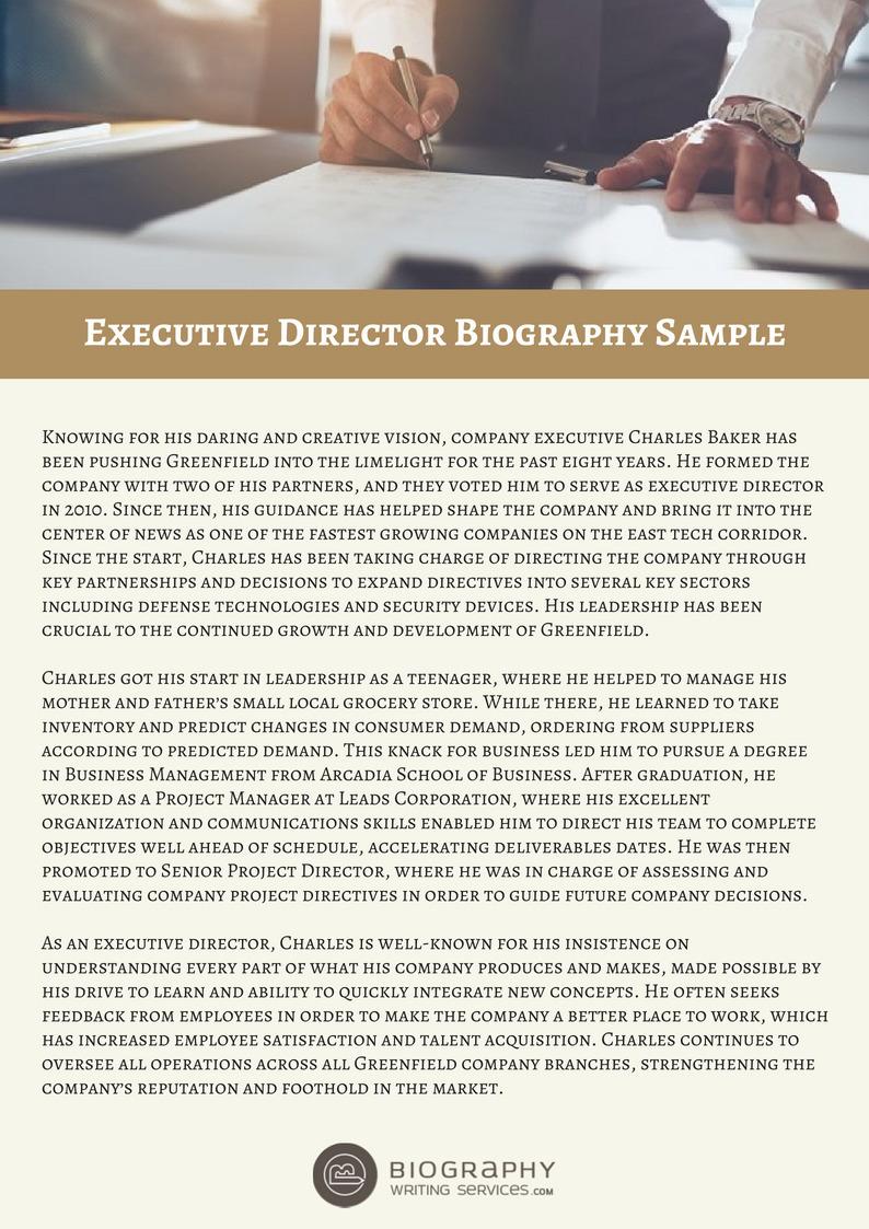 Executive Director Bio Sample Biography Writi