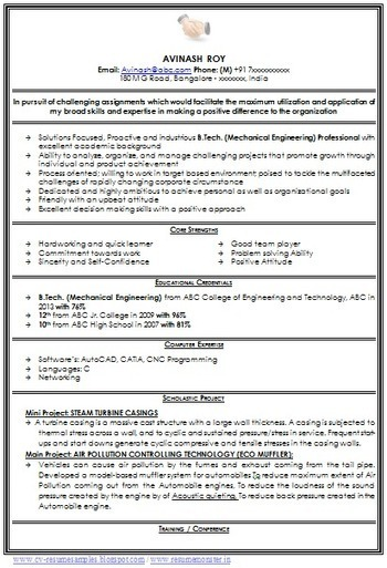 Etonnant Over 10000 CV And Resume Samples With Free Download: Mechanical Engineer  Resume For Fresher