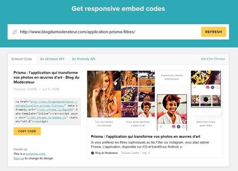 Iframely : générer un code Embed responsive pour n'importe quelle page web - Blog du Modérateur | utilitaires web et autres | Scoop.it