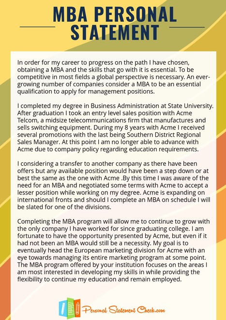 Mba personal statement sample online.