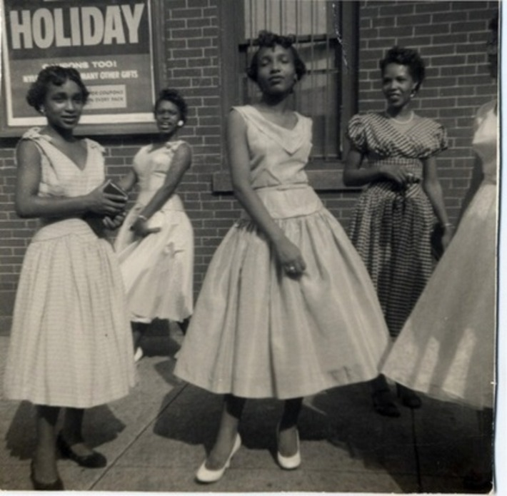 Girls posing in pretty dresses, 1950s. | Herstory | Scoop.it