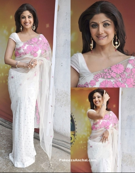 8335f8ebf8353 Shilpa Shetty in White Designer Net Georgette Saree with Floral Patch work