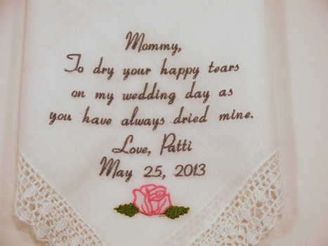 e3c320e288 WEDDING GIFTS Embroidered Wedding Handkerchiefs Personalized for Mother of  the Bride by Napa Embroidery