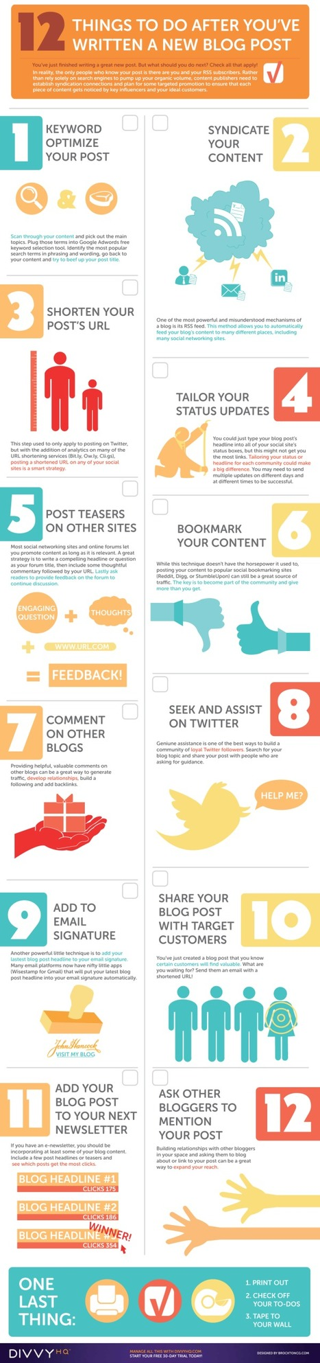 Your Blog Post Promotion Checklist - An Infographic from @DivvyHQ | e-marketing and design | Scoop.it