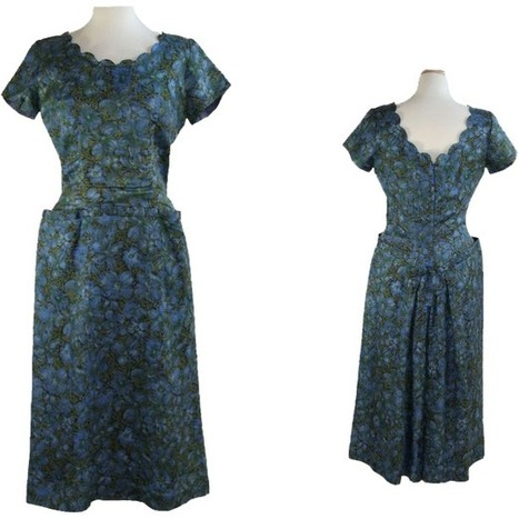 1950's Vintage Fancy Blue Floral Day Dress | All About Vintage | Scoop.it