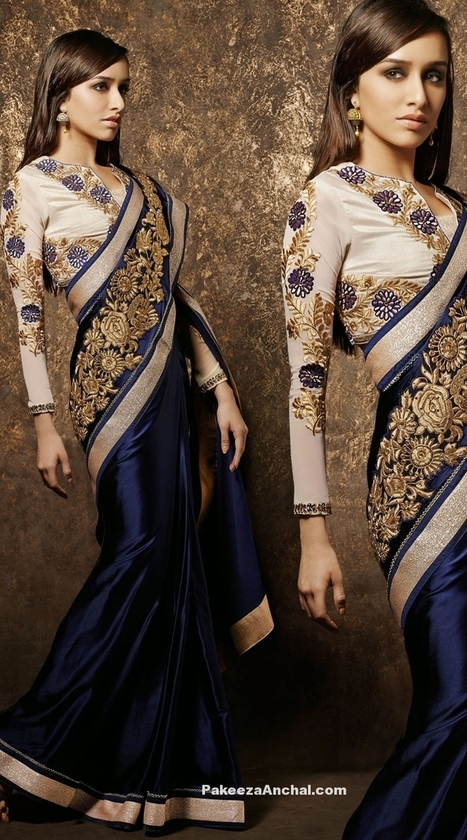 a160d1064bcd3 Shraddha Kapoor in Elegant Satin Blue embroidery Saree Blouse with Resham    Stone work