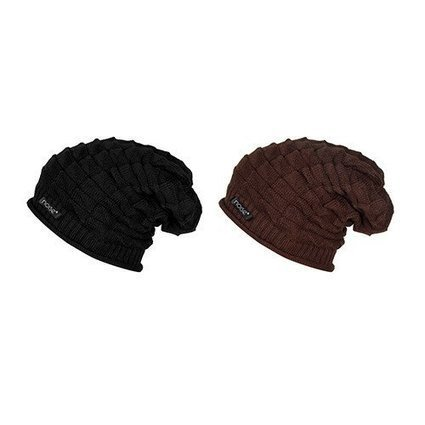 Noise Combo of Black Knitted and Brunette Brown Knitted Slouchy Beanie –  Gonoise 7ef54b61415