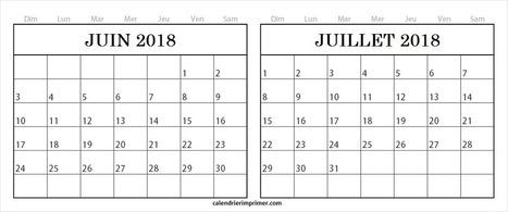 Gratuit Calendrier Juin Juillet 2018 Pour Imprimer In 2018