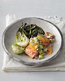 Grilled Salmon and Bok Choy with Orange-Avocado Salsa - Whole Living Eat Well | À Catanada na Cozinha Magazine | Scoop.it