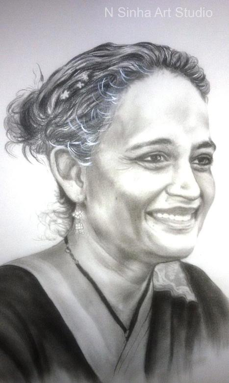 Drybrush pencil sketch portrait artist in delhi ncr