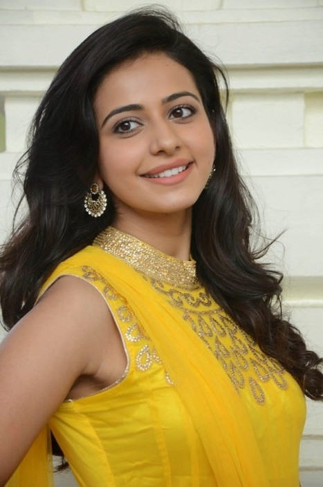 Actress Rakul Preet Singh pictures in Yellow Sleeveless Long Frock Anarkali Churidar Dress, Actress, Bollywood, Indian Fashion, Tollywood | CHICS & FASHION | Scoop.it