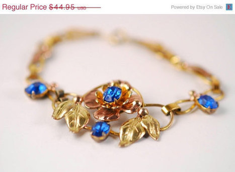 Art Nouveau Style Bracelet with Rose Gold Vermeil and Blue Rhinestones. | Gorgeous Vintage I Crave! | Scoop.it