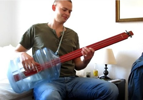 Acoustic bass guitar uses water jug and two strings | News we like | Scoop.it