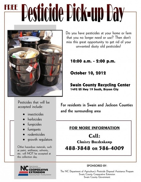 Free Pesticide Pick-up Day in Swain County | North Carolina Cooperative Extension | North Carolina Agriculture | Scoop.it