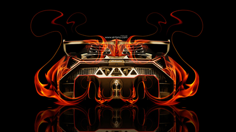 Lamborghini Veneno Back Fire Abstract Car 2014 HD Wallpapers
