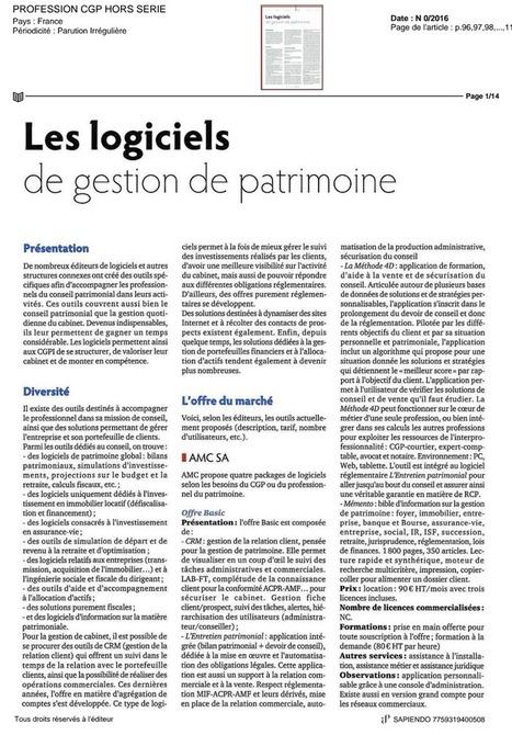 PROFESSION CGP : 27/09/16 - Les logiciels de gestion de patrimoine | Sapiendo Retraite : Actualités | Scoop.it