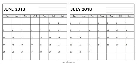 Editable June July 2018 Calendar Template 2 M