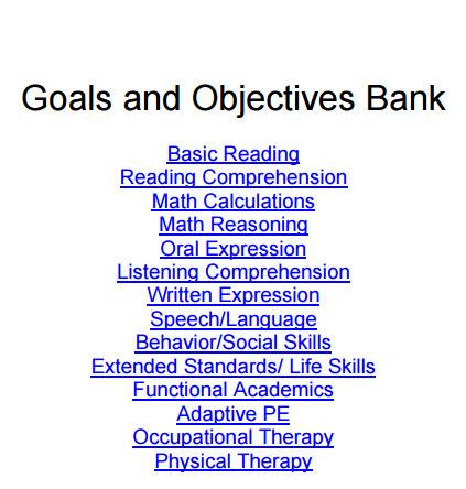 iep behavior goals and objectives bank