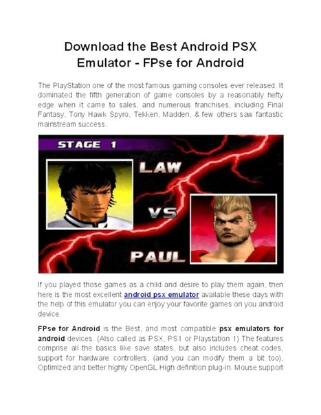 Best Android PSX Emulator - FPse for Android -
