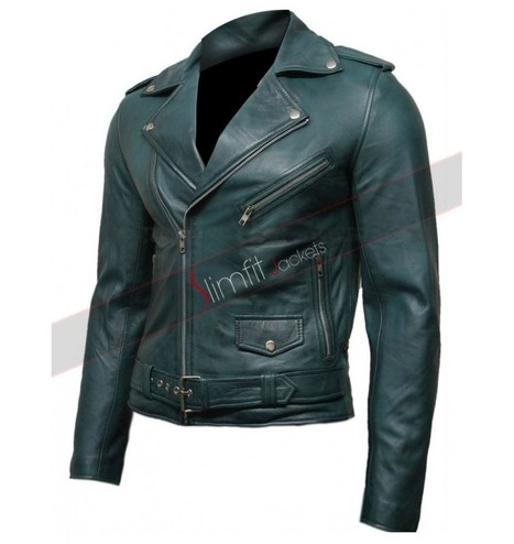 Green Vintage Men's Belted Motorcycle Leather J