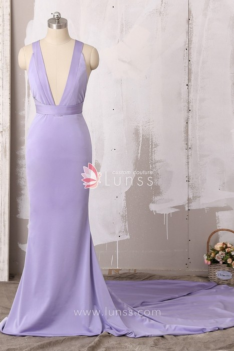 7282380470 Elegant Lavender Glossy Jersey Plunging Neckline Mermaid Long Formal Dress  with Crisscross Back - Lunss Couture