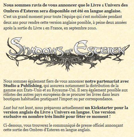 Agate RPG, éditeur de jeux: Press Release: The Translation of Shadows of Esteren is Coming out this Summer | Jeux de Rôle | Scoop.it