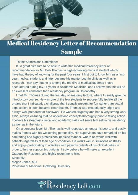 Medical Residency Letter Of Recommendation Samp