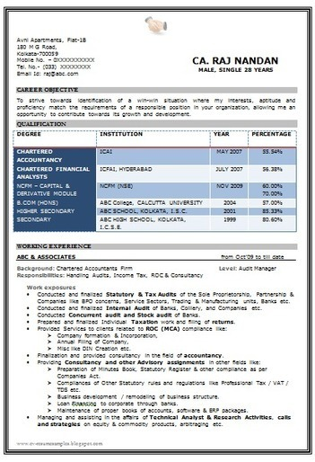 Resume Resume Format In Word For Ca Articleship Resume Format Doc For Ca  Ixiplay Free Samples